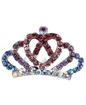 Anaira Rhinestone Studded Angel's Crown Comb Pin - Multi color