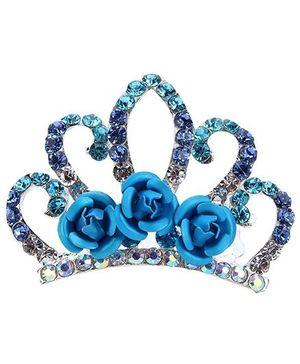Anaira Rhinestone Studded Angel's Crown Comb Pin - Blue