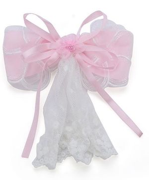 Anaira Barrette Clip with Bow and Lace - Pink