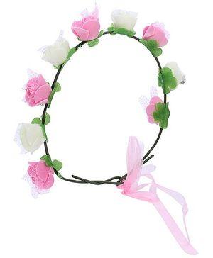 Anaira Floral Tiara - White and Pink