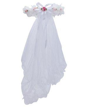 Anaira Princess Tiara with Veil - White