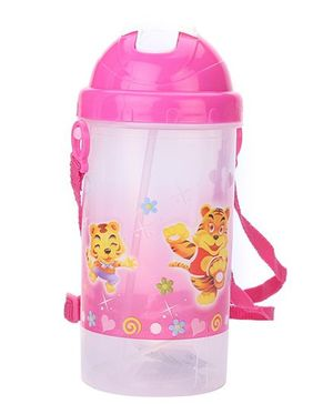 Sipper Bottle With Pop Up Straw Tigers Print - Pink