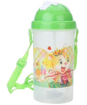 Sipper Water Bottle Pooh Print - Green