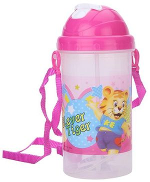 Sipper Bottle With Pop Up Straw Clever Tiger Print - Pink