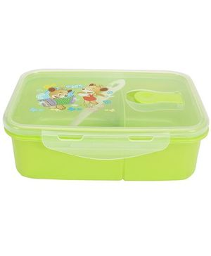 Lunch Box With Spoon Smile Print - Green