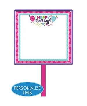 Party In A Box Amscan Pastel Birthday Blank Yard Sign - Purple & Teal