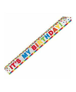 Party In A Box Amscan Metallic Rainbow Birthday Sash - Multicolor