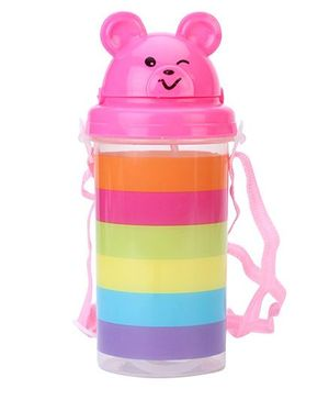 Sipper Water Bottle Teddy Face Lid Pink And Multicolor - 500 ml