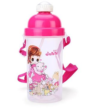 Sipper Water Bottle Teddy And Animal Print - Pink