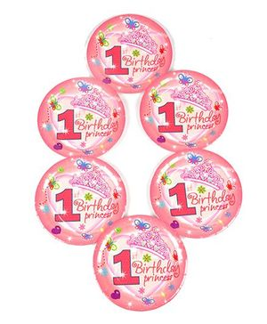 Funcart Sweet At One Princess Theme Disposable Paper Plate - Pack of 6