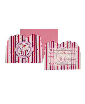 Funcart Sweet Treat Cupcake Pink Theme Invitation Cards - Pack of 6