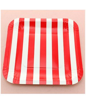 Funcart Red Sailor Striped Square Plates - Pack of 12
