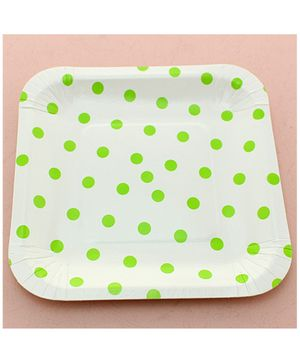 Funcart Green Polka Dot Square Plates - Pack of 12