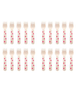 Funcart Wooden Cutlery Utensil Polka Dot Pink Spoon - Pack of 10