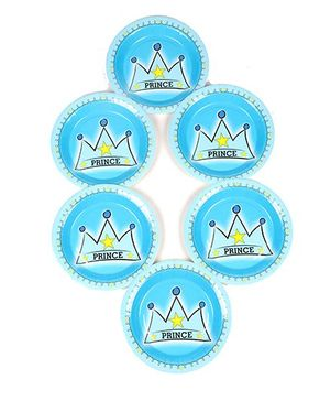 Funcart Prince Crown Theme Disposable Paper Plate - Pack of 6