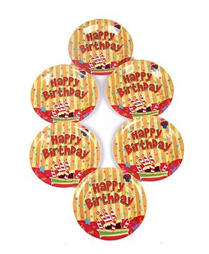 Funcart Stripe Birthday Theme Disposable Paper Plate - Pack of 6