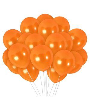 Funcart Metallic Latex Balloons Orange - Pack of 10