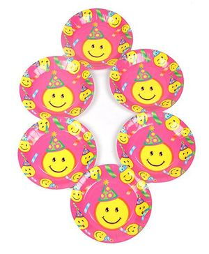 Funcart Smiley Theme Party Disposable Paper Plate - Pack of 6