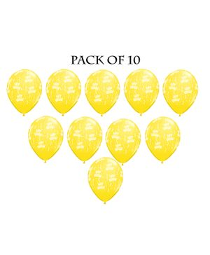 Funcart Elegant Happy Birthday Balloon Yellow - Pack of 5