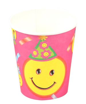 Funcart Smiley Theme Party Disposable Paper Cups - 9 Oz