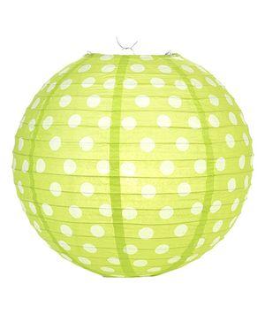 Funcart Polka Dots Paper Lantern 12 Inches - Lime Green