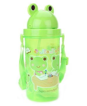 Sipper Bottle With Flip Open Lid Froggy Print Green - 500 ml