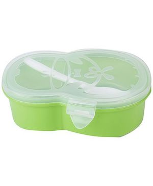 Lunch Box with Transperent Lid Penguin Shape - Green