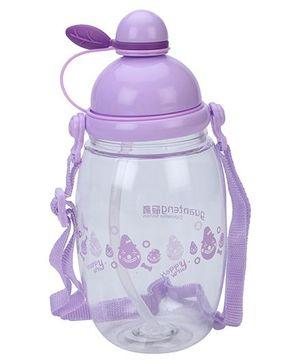 Sipper Water Bottle Happy Print Purple - 550 ml