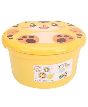 Lunch Box with Spoon Tiger Print - Yellow