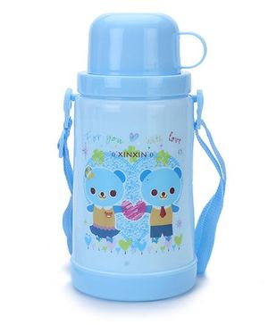 Sipper Bottle With Flip Open Lid and Cup Teddy Print - Blue