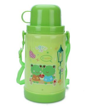 Sipper Bottle With Flip Open Lid and Cup Froggy Print - Green