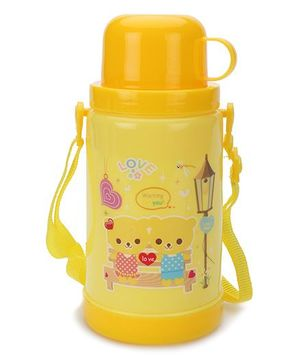 Sipper Bottle With Flip Open Lid and Cup Teddy Print - Yellow