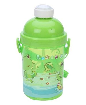 Sipper Water Bottle With Push Button Lid Frog Print - Green