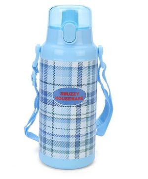 Water Bottle Checks Print - Blue