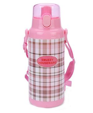 Water Bottle Checks Print - Pink