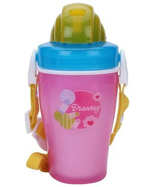 Water Bottle With Straw Drawing Print - Pink
