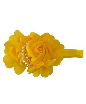Tiny Closet Flower Pearl Headband - Yellow