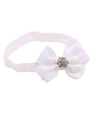 NeedyBee Bow Embellished Headband With Rhinestone - White