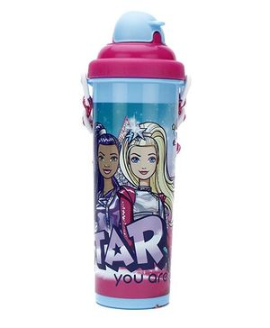 Barbie Pop Up With Straw Water Bottle Blue - 700 ml