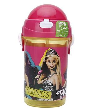 Barbie Rockstar Print Push Button Water Bottle Pink - 500 ml