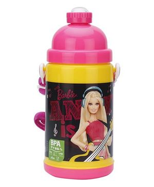 Barbie Doll Print Water Bottle Pink And Black - 500 ml
