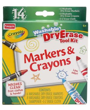 Funskool Crayola Washable Dry Erase Tool Kit Markers And Crayons - 14 Pieces