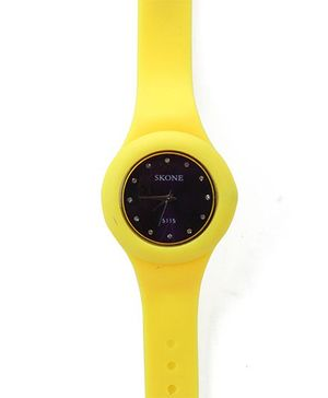 Analogue Wrist Watch Round Shape Dial - Yellow and Black