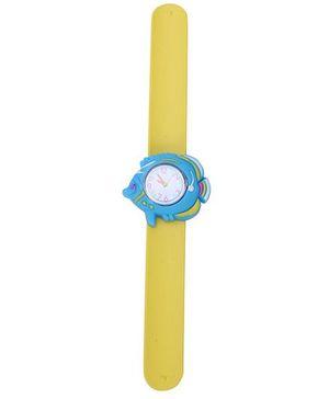 Slap Style Analog Watch Fish Design Dial - Yellow & Blue