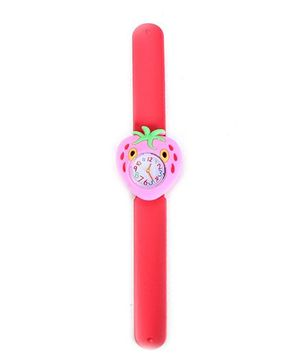 Slap Style Analog Watch Strawberry Shape Dial - Pink And Red