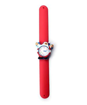 Slap Style Analog Watch Santa Design Dial - Red And Blue