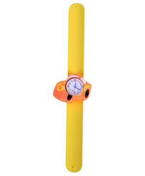 Slap Style Analog Watch Car Shape Dial - Yellow and Orange