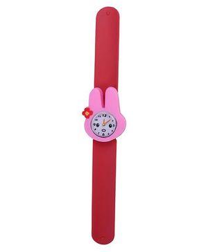 Slap Style Analog Watch Rabbit Design Dial - Red & Pink