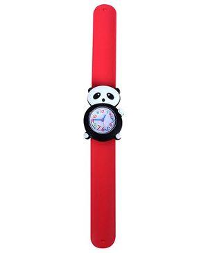 Slap Style Analog Watch Panda Shape Dial - Red and Black