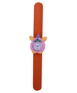 Slap Style Analog Watch Owl Design Dial - Orange & Pink